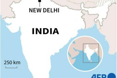 Map of India showing the capital New Delhi where thousands of farmers in tractor convoys burst through police barricades on January 26 to protest against agricultural reforms.
