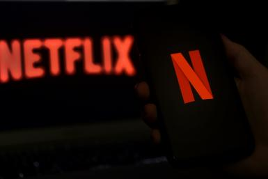 In this file photo illustration a computer screen displays the Netflix logo on March 31, 2020 in Arlington, Virginia