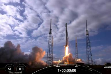 The Spacex Falcon 9 lifts off in Cape Canaveral, Florida on January 24, 2021