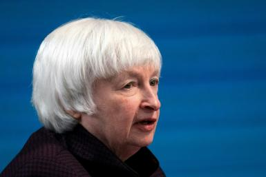 Treasury Secretary Janet Yellen, seen taking part in a February 5, 2021 virtual roundtable event, has said the US economy is 'stalling' and unemployment could stay high for years without President Joe Biden's stimulus package