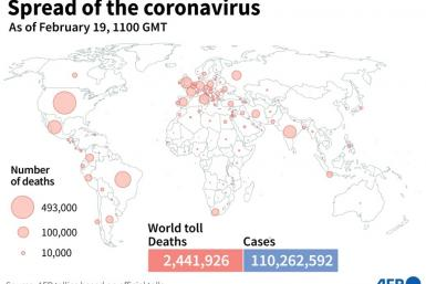 Global death toll and coronavirus cases as of February 19, based on AFP tallies