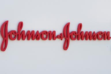 In this file photo taken on August 28, 2019 an entry sign to the Johnson & Johnson campus shows their logo in Irvine, California