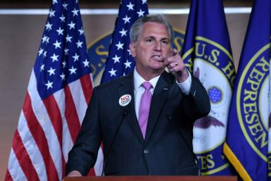 """US House Minority Leader Kevin McCarthy blasted the Covid rescue plan as a """"bloated"""" trillion-dollar progressive wishlist"""