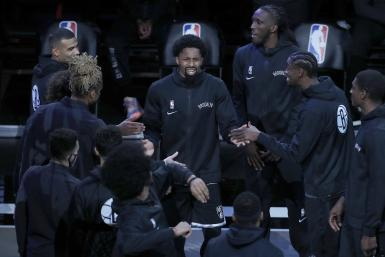 Spencer Dinwiddie #26 of the Brooklyn Nets is introduced before a game against the Golden State Warriors