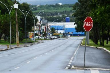 An empty street in a commercial area of Brasilia, the Brazilian capital, during a Covid lockdown