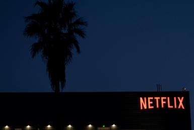 The Netflix logo sign is seen on top ot its office building on February 4, 2021 in Hollywood, California