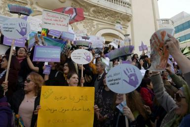 """Members of the Tunisian """"EnaZeda"""" -- inspired by the #MeToo movement -- rallied against sexual harassment in Tunis in November 2019"""