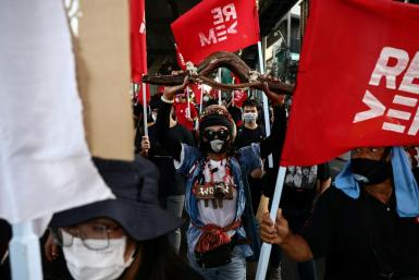 Protesters called for the release of pro-democracy leaders and end to Thailand's draconian royal defamation law in Bangkok on Saturday