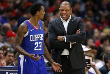 Head coach Doc Rivers of the LA Clippers and Lou Williams #23