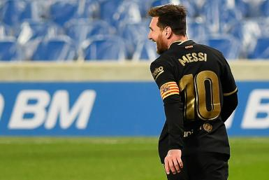 Lionel Messi scored twice as Barcelona thrashed Real Sociedad 6-1 on Sunday