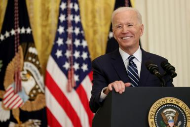US President Joe Biden at the first news conference of his presidency