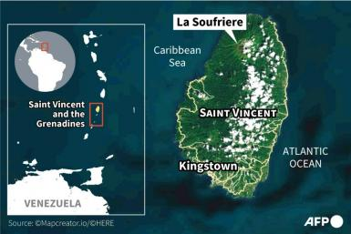 Map locating Saint Vincent's La Soufriere volcano, which erupted April 9