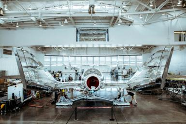 This November 11, 2020, image obtained from Virgin Galactic shows pre-flight operations in Las Cruces, New Mexico