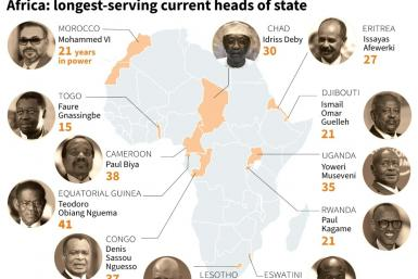 Map showing Africa's 12 longest-serving leaders