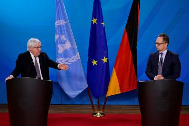 UN Special Envoy for Yemen Martin Griffiths (L), alongside German Foreign Minister Heiko Maas, warned peace efforts had hit a 'critical moment'
