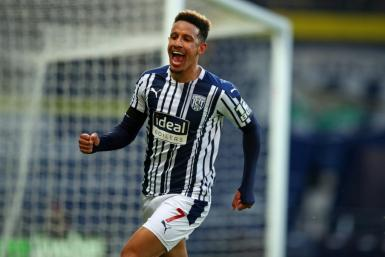 West Brom striker Callum Robinson celebrates scoring against Southampton