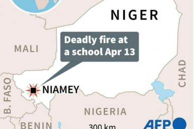 Map of Niger locating Niamey where the blaze occurred