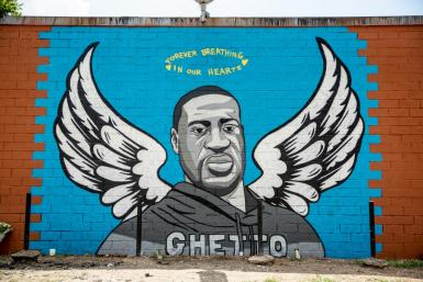 One of the murals paying homage to George Floyd is seen in Houston on June 2, 2020