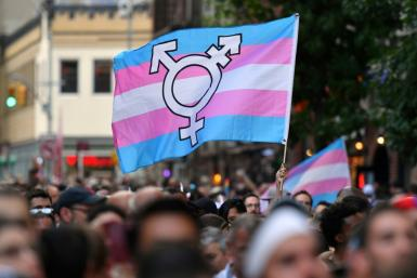 A transgender pride flag during a rally in New York