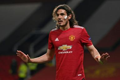 Edinson Cavani scored twice in Manchester United's 6-2 Europa League win against Roma