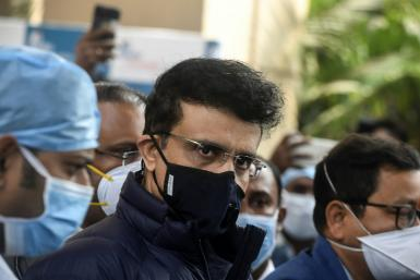 """Indian cricket chief Sourav Ganguly (C) said the number of cases has gone """"through the roof"""""""
