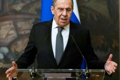 Russian Foreign Minister Sergei Lavrov speaking at a press conference in Moscow on May 5 2021.