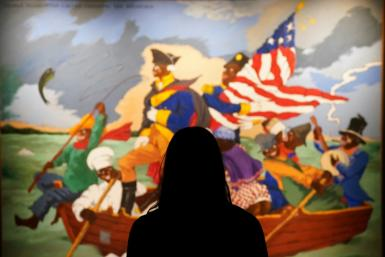"Sotheby's is auctioning Robert Colescott's ""George Washington Carver Crossing the Delaware: Page from an American History Textbook"""