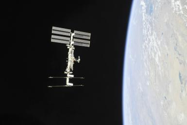 The International Space Station photographed in 2018 from a Soyuz spacecraft