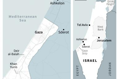 Map locating Israel and the Gaza Strip