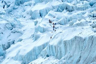 Mountaineers trek near the Mount Everest base camp