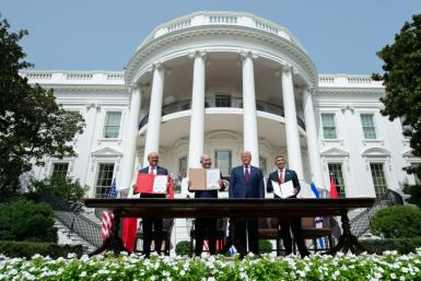 (L-R) The leaders of Bahrain, Israel and the UAE with then US president Donald Trump after the signing of the Abraham Accords