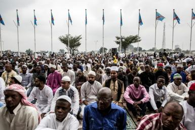 Muslim worshippers at the stadium in Kinshasa