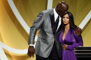 Vanessa Bryant is greeted by NBA icon Michael Jordan after speaking on behalf of Kobe Bryant during the Basketball Hall of Fame Enshrinement Ceremony at Mohegan Sun Arena in Uncasville, Connecticut