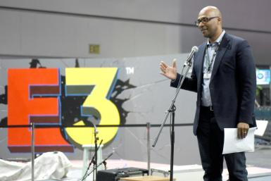 Stanley Pierre-Louis speaks onstage during the last in-person E3 trade show, at the Los Angeles convention center in 2019