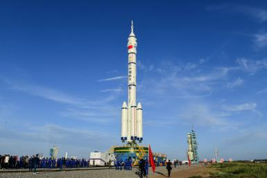 Three astronauts will blast off from the Gobi desert in China's first manned flight to its new space station