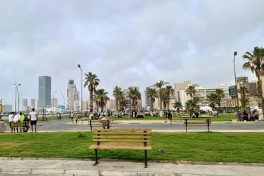 """A recreational area in Tripoli built on the former military academy of late Libyan leader Moamer Kadhafi's entourage of female bodyguards, known as """"Amazons"""", between the port and the city centre of the capital"""