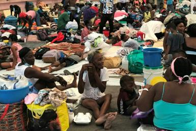 Hundreds of families have taken shelter in a sport center of the city of Carrefour, in the suburbs of Port-au-Prince