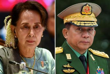 Myanmar has been in turmoil since a military junta led by Min Aung Hlaing (R) overthrew civilian leader Aung San Suu Kyi and her National League for Democracy government in February 2021