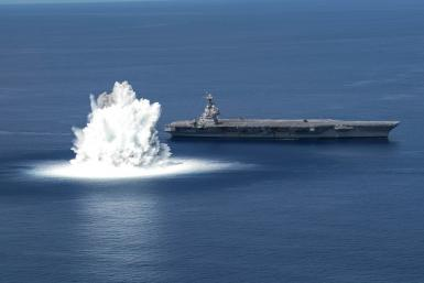 The USS Gerald R. Ford completes its first scheduled Full Ship Shock Trial in the Atlantic Ocean on June 18, 2021