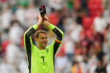 Germany's goalkeeper Manuel Neuer wore a rainbow armband in his country's early Euro 2020 games