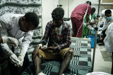 Victims of Tuesday's air strike bore shrapnel wounds, burns and disfigured limbs