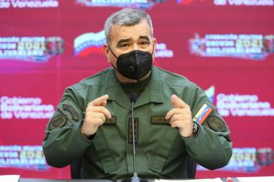 Venezuelan Defense Minister Vladimir Padrino, pictured April 4, 2021; Caracas charges that a US jet violated its airspace