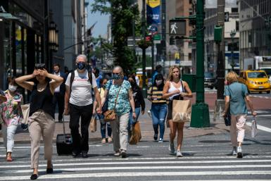 US consumers maintained their upbeat attitude in July, according to consumer confidence data, despite fresh Covid-19 outbreaks
