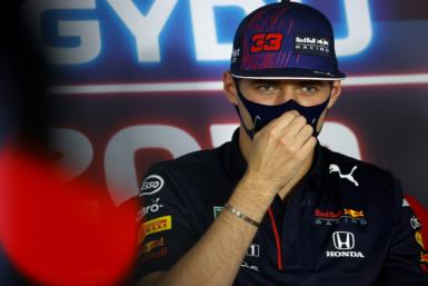 Defiant: Max Verstappen addresses a press conference at the Hungaroring on Thursday