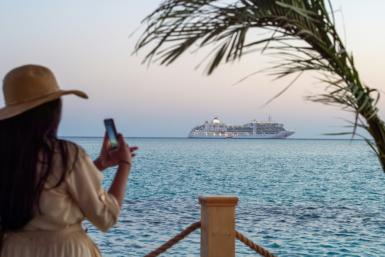 A cruise ship is seen at sea off Saudi Arabia's west coast, in this file picture from October 3, 2020
