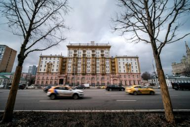 A March 2021 view of the US embassy in Moscow amid US complaints that it has to let go of local staff