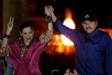Nicaragua's President Daniel Ortega (R) is to run for a fourth consecutive term in Novemeber's elections, with his wife, Vice-President Rosario Murillo, once again as his running mate