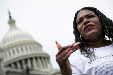 Lawmaker Cori Bush, seen on August 3, 2021, had been camping out on the steps of the US Capitol to protest the end of an eviction moratorium