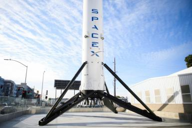 The first stage of SpaceX's Falcon 9 rocket in February 2021 in California