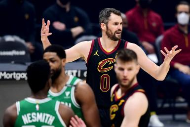 Kevin Love #0 of the Cleveland Cavaliers